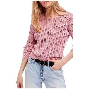 Free people boomerang open knit crotchet sweater